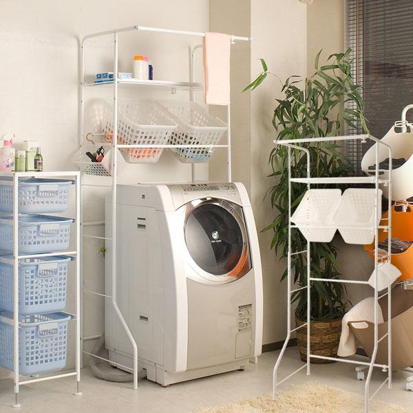 ランドリーラック バスケット付き 洗濯機ラック NJ-0070