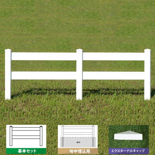 フェンス ホワイト バイナルフェンス アメリカン 樹脂 PVC 幅120cm 高さ120+(40)cm 基本セット 埋込用 2レールズランチ EXキャップ 2RR-E039【送料無料】