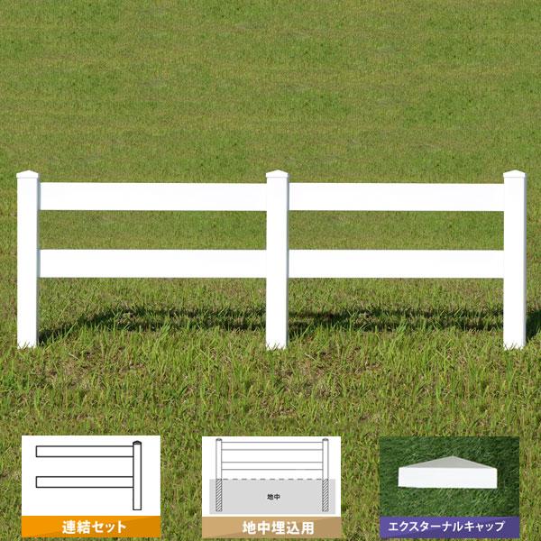 フェンス ホワイト バイナルフェンス アメリカン 樹脂 PVC 幅140cm 高さ120+(40)cm 連結セット 埋込用 2レールズランチ EXキャップ 2RR-E053/2RR-E054【送料無料】