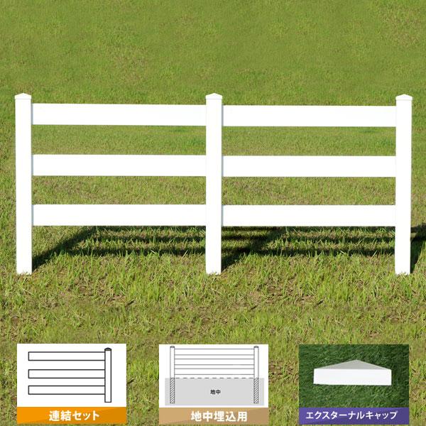 フェンス ホワイト バイナルフェンス アメリカン 樹脂 PVC 幅100cm 高さ90+(30)cm 連結セット 埋込用 3レールズランチ EXキャップ 3RR-E033/3RR-E034【送料無料】