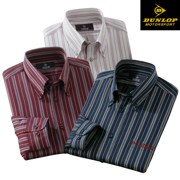 DUNLOP ダンロップモータースポーツ こだわり柄のストライプシャツ 3色組 選べる袖丈 長袖 秋冬春 50代 60代 439013