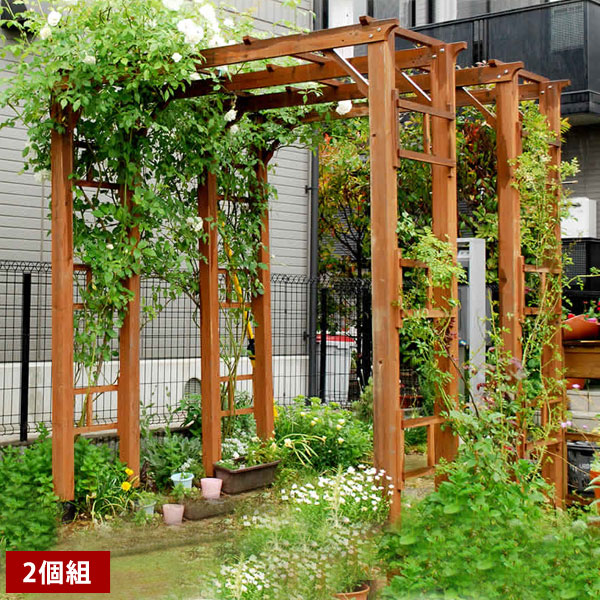 バルコニーアーチ フレックスパーゴラ190 2台組 ガーデンアーチ 木製アーチ 幅190.5×高さ203cm FLPG-R1900-2P【送料無料】
