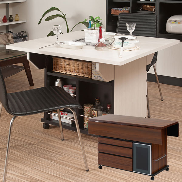 Butterfly counter table mobile kitchen trolley 119.5 cm with castors made  in Japan completed NO-0068/NO-0069