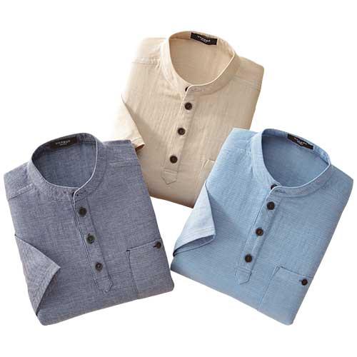 七分袖ダブルガーゼ プルオーバー3色セット シャツ メンズ 7分袖 春夏 953938 50代 60代【送料無料】