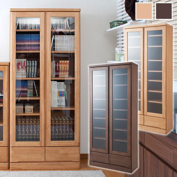 天然木書棚 幅80cm ハイタイプ 本棚/書棚/食器棚/カップボード/完成品/TE-0039/TE-0043