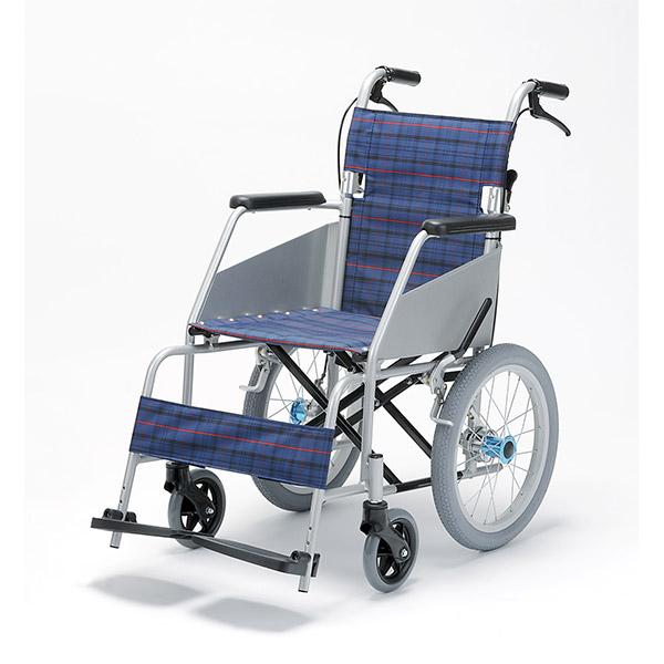 【片山車椅子製作所】KARL II(カール・コンパクト) 介助式 KW-803 / 座幅40cm 濃紺チェック =非課税=【メーカー直送】※返品・交換不可※代引不可※【介護用品】車椅子/車いす【通販】