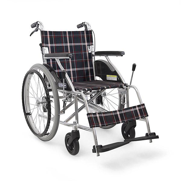 【カワムラサイクル】アルミ製標準車いす 自走用 KV22-40SB A22(黒チェック) / KV22-40SB =非課税=【メーカー直送】※返品・交換不可※代引不可※【介護用品】車椅子【通販】