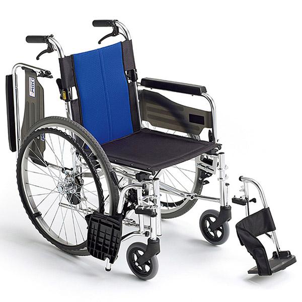 【ミキ】アルミ自走車いす BAL-3 / 座幅40cm ブルー(W4)メッシュ =非課税=【メーカー直送】※返品・交換不可※代引不可※【介護用品】車椅子/車いす/イス/高齢者/在宅/施設/シンプル/コンパクト/軽量/扱いやすい【通販】