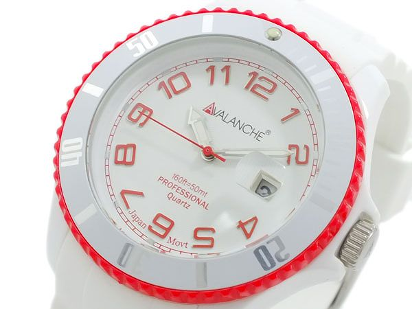 送料無料 AVALANCHE アバランチ 腕時計 メンズ Men's 時計 レッド ホワイト 赤 白 人気 ブランド アバランチ腕時計 アバランチ時計 AVALANCHE腕時計 AVALANCHE時計 アヴァランチ うでどけい とけい オシャレ お洒落 カジュアル ランキング 男性 誕生日 プレゼント ギフト