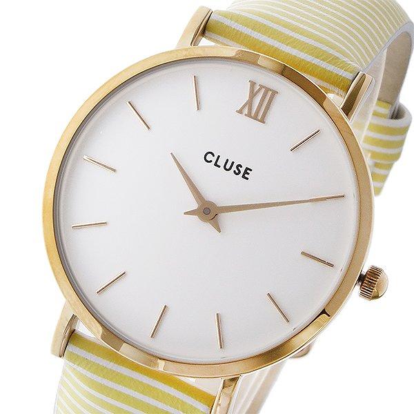 【送料無料】 クルース 腕時計 レディース CLUSE 時計 ミニュイ レザーベルト 33mm イエローストライプ CL30032 ホワイト クルース腕時計 クルース時計 CLUSE腕時計 おしゃれ CLUSE時計 レディス ウォッチ 女性 ギフト プレゼント