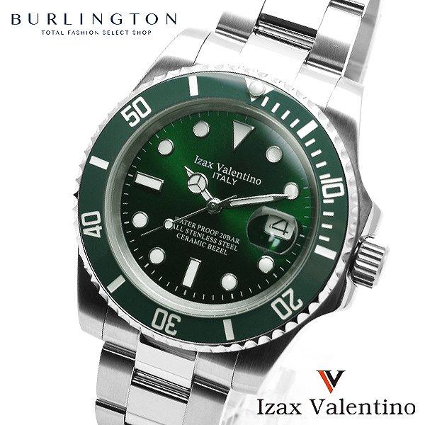 アイザック バレンチノ 腕時計 メンズ IZAX VALENTION IVG-9000-3 グリーン 緑 シルバー アイザックバレンチノ 時計 おしゃれ 20気圧 防水 カレンダー 男性 誕生日 ギフト 就職祝い プレゼント