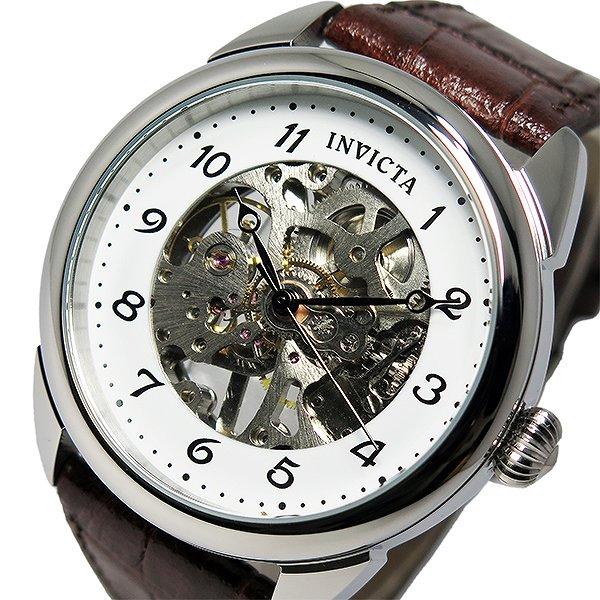 インヴィクタ INVICTA 手巻き メンズ 腕時計 17187 ホワイト ブラウン 30m防水 革ベルト レザー 人気 ブランド スケルトン インビクタ腕時計 インヴィクタ腕時計 激安 セール sale 男性 ギフト プレゼント