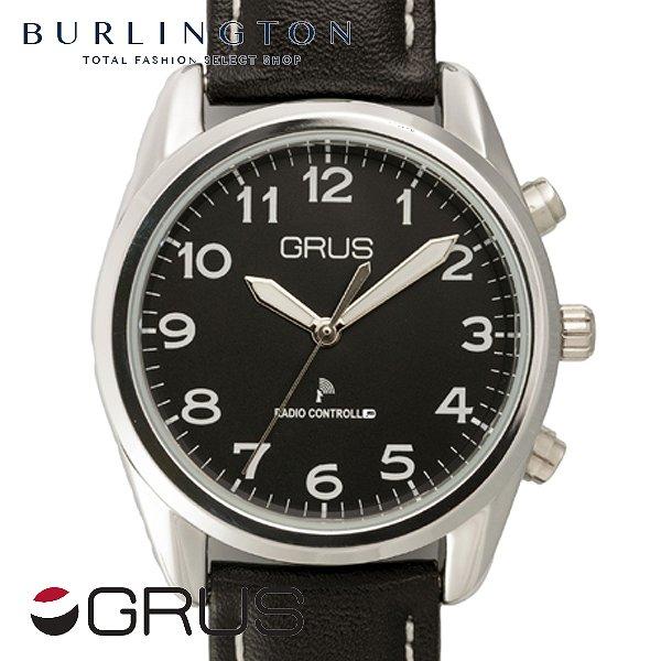 送料無料 時刻・日付を音声でお知らせ♪ グルス 腕時計 メンズ レディース GRUS 音声時計 ボイス ウォッチ 電波 GRS003-03 ブラック 黒 人気 ブランド 音声 機能 【盲人の方や視覚障害者の方のお声で開発された腕時計です】 ギフト プレゼント 激安