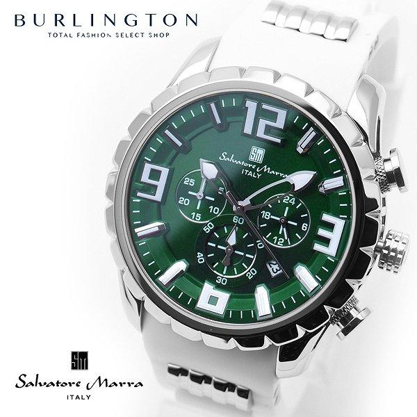 送料無料 サルバトーレマーラ 腕時計 メンズ Salvatore Marra SM15107-SSGRWH グリーン ホワイト 新作 クロノグラフ 10気圧 防水 人気 ブランド 時計 緑 白 おしゃれ 男性 ギフト プレゼント