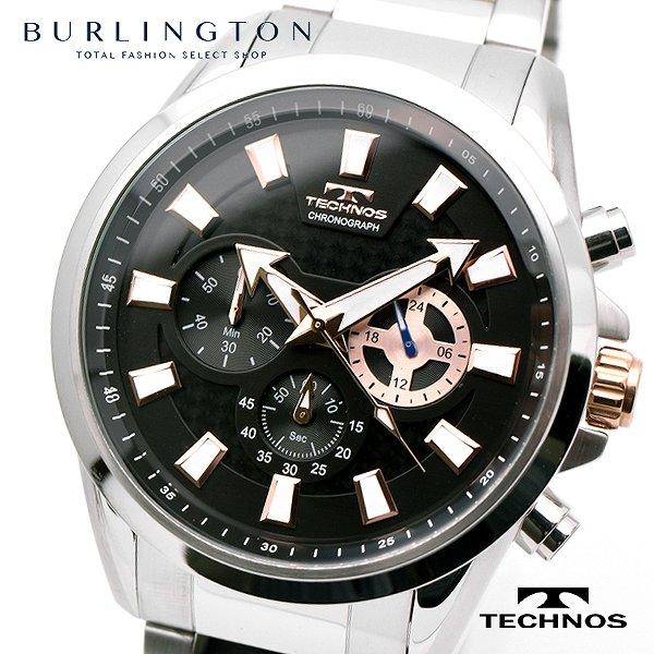 テクノス 腕時計 メンズ TECHNOS TSM616SB クロノグラフ ブラック シルバー 人気 ブランド ウォッチ 時計 テクノス腕時計 テクノス時計 男性 誕生日 ギフト プレゼント