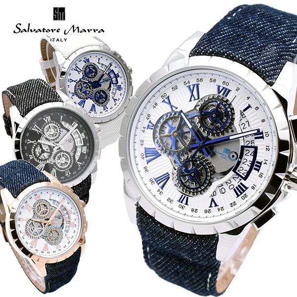 男性 サルバトーレマーラ腕時計 おしゃれ プレゼント 誕生日 SM13119D Salvatore ギフト メンズ Marra 時計 人気 腕時計 サルバトーレマーラ ベルト クリスマス ブランド レザー デニム サルバトーレマーラ時計 カジュアル