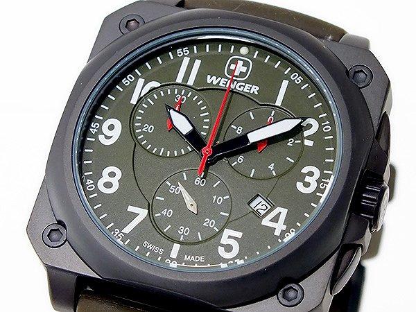 WENGER ウェンガー 腕時計 メンズ Men's エアログラフ コックピット クオーツ クロノ 時計 77011 カーキ 100M 防水 ラバーベルト 人気 ブランド WENGER腕時計 WENGER時計 ウェンガー腕時計 ウェンガー時計 うでどけい おすすめ ウォッチ 男性用 ギフト プレゼント