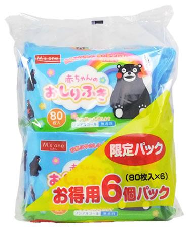 M一嬰兒的臀部擦拭熊MON(80張*6個包)  嬰兒事情臀部擦布