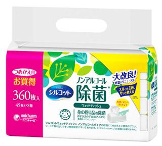 特売 ユニチャーム シルコット ノンアルコール 注目ブランド 除菌ウェットティッシュ 45枚×8個 祝日 つめかえ用 詰め替え用