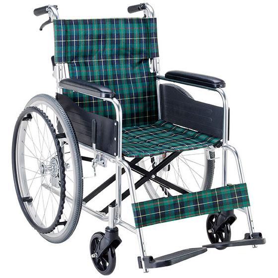 送料無料 マキテック 自走用 車椅子 EW-50 | 車いす 車イス くるまいす 折り畳み 折りたたみ 背折れ ノーパンクタイヤ 介助ブレーキ付き アルミフレーム
