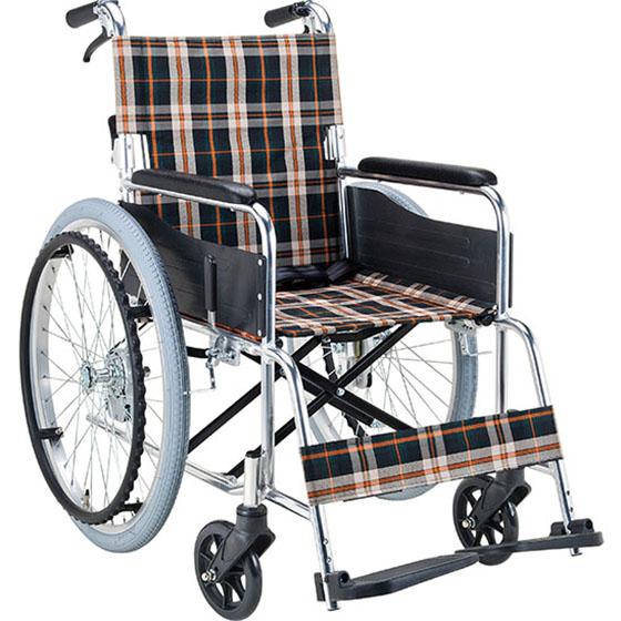 乗り心地のよい後輪はエアタイヤ 現金特価 介助者ハンドル部分には握りやすい新開発のテーパー型グリップを採用 マキテック 自走用 車椅子 EX-50 新商品 車いす 車イス くるまいす エアタイヤ SGマーク バンド式ブレーキ 介助ブレーキ付き 折り畳み 背折れ 折りたたみ アルミフレーム