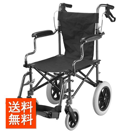 送料無料 介助用 車椅子 ユーキトレーディング ハンディライト100 収納バッグ付 シート幅45cm 簡易 携帯型 持ち運び コンパクト ノーパンク Handy Light100 車椅子 車いす 車イス くるまいす 折り畳み 折りたたみ