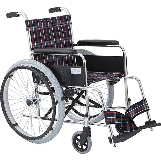 車椅子 自走介助兼用車椅子 スチール製 ノーパンク仕様 [美和商事] リーズ MW-22STN ガートル掛け標準装備 車イス/車いす/車椅子/送料無料