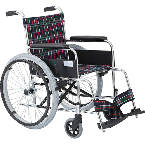 車椅子 自走式車椅子 リーズナブル ノーパンク・ガートル掛け標準装備 ガートル棒付 [美和商事] リーズ MW-22STNS 車イス/車いす/車椅子/送料無料