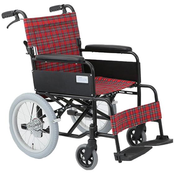 車椅子介助式車椅子シンプルアルミ製[美和商事]ノーパンク仕様アミー16 MW-16AN車イス/車いす/車椅子/送料無料