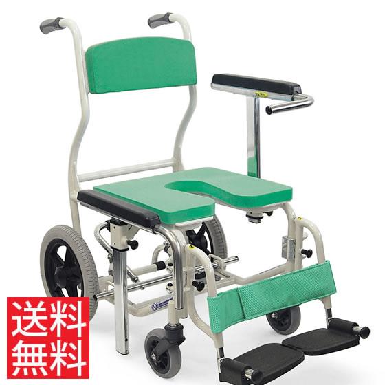 シャワー用 車椅子 KS12 高床 スイングアウト ノーパンクタイヤ 12インチ カワムラサイクル フットブレーキ 転倒防止バー クリあり シート取り外し アルミ製 介助用 病院 施設 在宅 介護 お風呂 入浴 車いす 車イス くるまいす