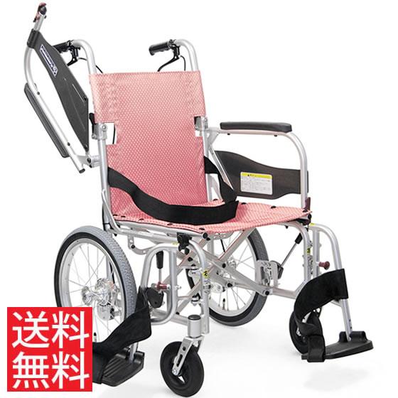 送料無料 カワムラサイクル 介助用 軽量車椅子 ふわりすプラス KFP16-40(42)SB   車いす 車イス くるまいす 背折れ 軽量 折り畳み 折りたたみ エアタイヤ 介助ブレーキ付き バンド式ブレーキ アルミフレーム SGマーク