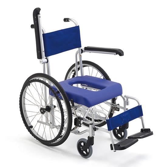ミキ お風呂用車椅子 フローラ 自走用 MH-43 | 車椅子 お風呂用 シャワー用 入浴用 シャワーキャリー 折りたたみ 肘跳ね上げ ハイポリマータイヤ ノーパンク miki 送料無料