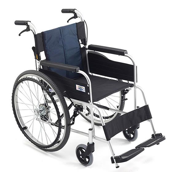 MiKi/ミキ 自走用車椅子 USG-1 | 車椅子 軽量 折り畳み 折りたたみ アルミ製 背折れ 自走式 ノーパンクタイヤ ハイポリマータイヤ 施設 病院