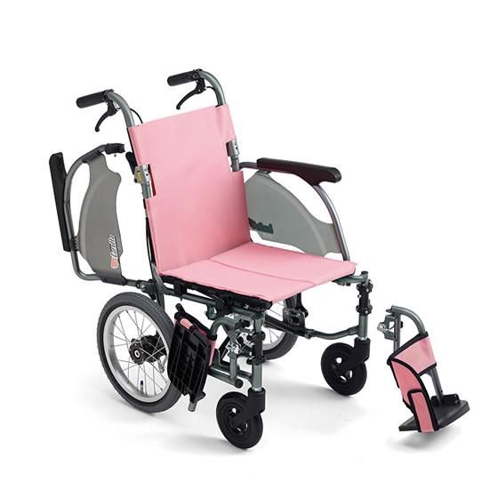 コンパクト 超軽量 スリム 車椅子 低床 足こぎ 小柄 低座面 肘跳ね上げ スイングアウト 送料無料 人気 スタンダード MIKI ミキ CRT-4Lo 介助用 車いす 車イス 折りたたみ エアタイヤ 施設 病院 自宅 安い ピンク グリーン かわいい