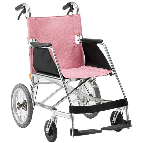 車椅子 超軽量 軽量 軽い スタンダード ピンク かわいい 女性 女の子 折り畳み 折りたたみ 介助用ブレーキ 松永製作所 エアライトシリーズ USL-2B 介助用 介助式 車いす 車イス くるまいす 持ち運び プレゼント 父の日