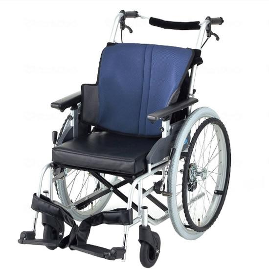 送料無料 日進医療器 自走用 車椅子 座王 NA-501A | 車いす 車イス くるまいす 背折れ 折り畳み 折りたたみ エアタイヤ 介助ブレーキ付き バンド式ブレーキ アルミフレーム