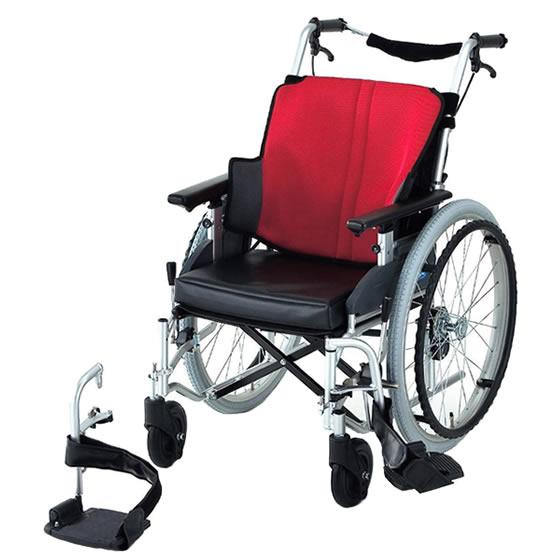 送料無料 日進医療器 自走用 車椅子 座王 NA-501FO | 車いす 車イス くるまいす 背折れ 折り畳み 折りたたみ エアタイヤ 介助ブレーキ付き バンド式ブレーキ アルミフレーム