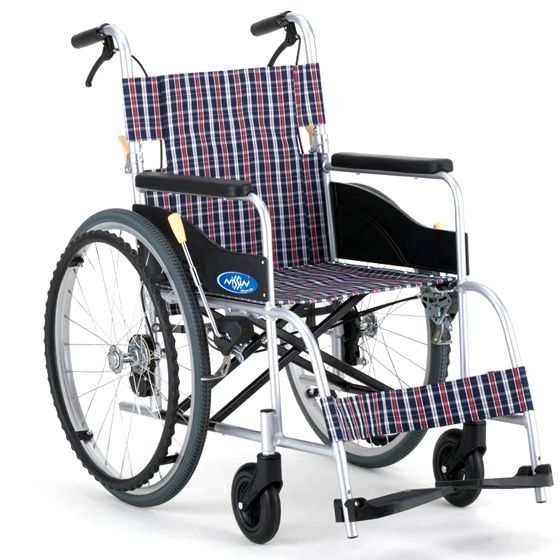 送料無料 日進医療器 自走用 車椅子 NEO-1 | 車いす 車イス くるまいす 背折れ 折り畳み 折りたたみ ノーパンクタイヤ ハイポリマータイヤ 介助ブレーキ付き バンド式ブレーキ アルミフレーム JISマーク