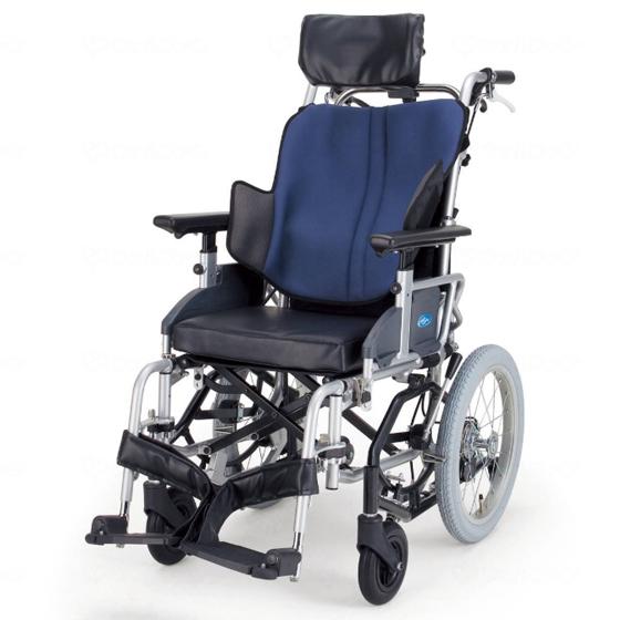 送料無料 日進医療器 介助用 ティルト車椅子 座王 NAH-F5 | 車いす 車イス くるまいす 背折れ 折り畳み 折りたたみ エアタイヤ 介助ブレーキ付き バンド式ブレーキ アルミフレーム