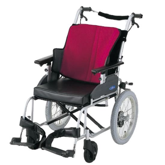送料無料 日進医療器 介助用 車椅子 座王 NAH-521A | 車いす 車イス くるまいす 背折れ 折り畳み 折りたたみ エアタイヤ 介助ブレーキ付き バンド式ブレーキ アルミフレーム