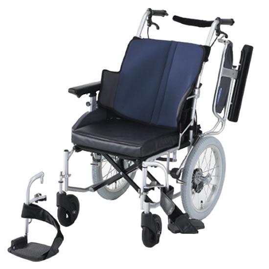 送料無料 日進医療器 介助用 車椅子 座王 NAH-521W | 車いす 車イス くるまいす 背折れ 折り畳み 折りたたみ エアタイヤ 介助ブレーキ付き バンド式ブレーキ アルミフレーム