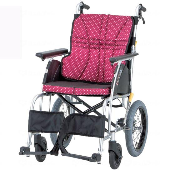 疲れにくい 標準型 車椅子 3Dバックサポート 折りたたみ エアタイヤ ウルトラシリーズ NAH-U1 おしゃれ かわいい 介助用 送料無料 日進医療器 nissin 14インチ 人気 車イス 車いす くるまいす 水玉 ドット 折り畳み