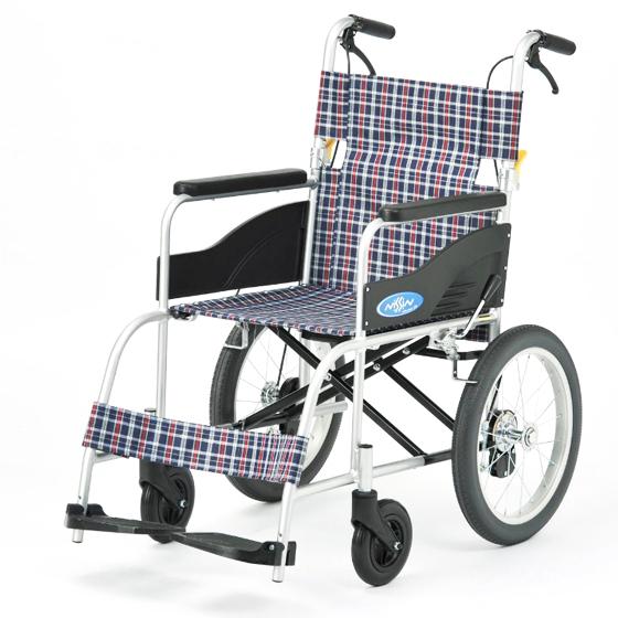 日進医療器 介助用 車椅子 NEO-2 | 車いす 車イス くるまいす 背折れ 折り畳み 折りたたみ ノーパンクタイヤ ハイポリマータイヤ 介助ブレーキ付き バンド式ブレーキ アルミフレーム JISマーク