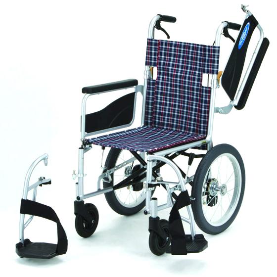 送料無料 日進医療器 介助用 車椅子 NEO-2W | 車いす 車イス くるまいす 背折れ 折り畳み 折りたたみ ノーパンクタイヤ ハイポリマータイヤ 介助ブレーキ付き バンド式ブレーキ アルミフレーム JISマーク