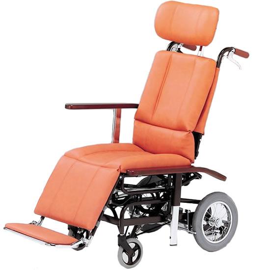 送料無料 ティルト リクライニング スチール製 車椅子 ビニールレザー 清潔 日進医療器 nissin NHR-7 介助用 車イス 車いす くるまいす 足踏みブレーキ 転倒防止 ヘッドサポート着脱 施設 病院 背もたれ 楽な姿勢 角度を変える フルリクライニング