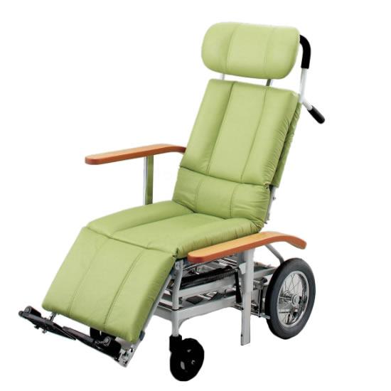 送料無料 ティルト リクライニング スチール製 座席昇降 車椅子 ビニールレザー 清潔 日進医療器 nissin NHR-15 介助用 車イス 車いす くるまいす 足踏みブレーキ ヘッドサポート着脱 施設 病院 背もたれ 楽な姿勢 角度を変える フルリクライニング