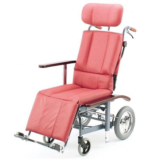 送料無料 フルリクライニング スチール製 車椅子 ビニールレザー 清潔 ふき取り 日進医療器 nissin NHR-12 介助用 車イス 車いす くるまいす 足踏みブレーキ ヘッドサポート着脱 施設 病院 背もたれ 楽な姿勢 角度を変える