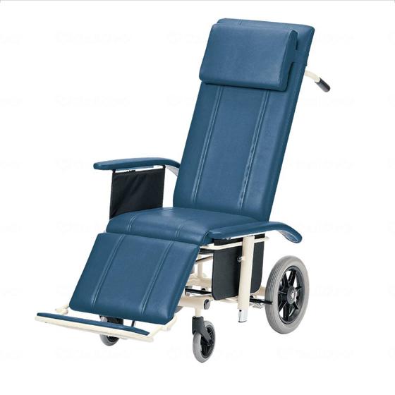 送料無料 フルリクライニング スチール製 車椅子 ビニールレザー 清潔 ふき取り 日進医療器 nissin NHR-16 介助用 車イス 車いす くるまいす 足踏みブレーキ 施設 病院 背もたれ 楽な姿勢 角度を変える