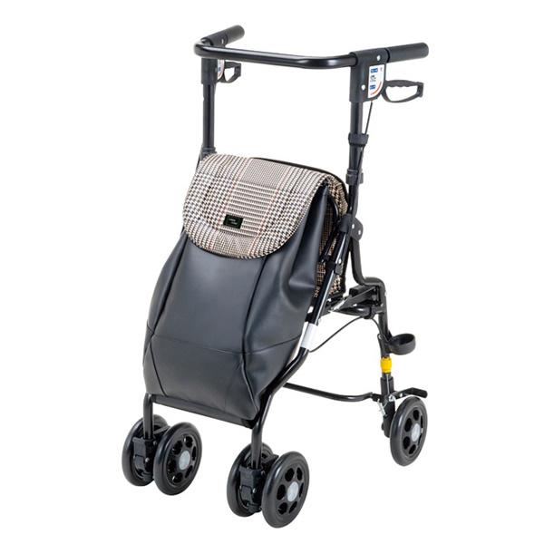 マキテック シルバーカー アンティ UX-2 | 送料無料 手押し車 U字ハンドル 折りたたみ 折り畳み 座れる 座面 駐車ブレーキ 杖立て おしゃれ 買い物 散歩