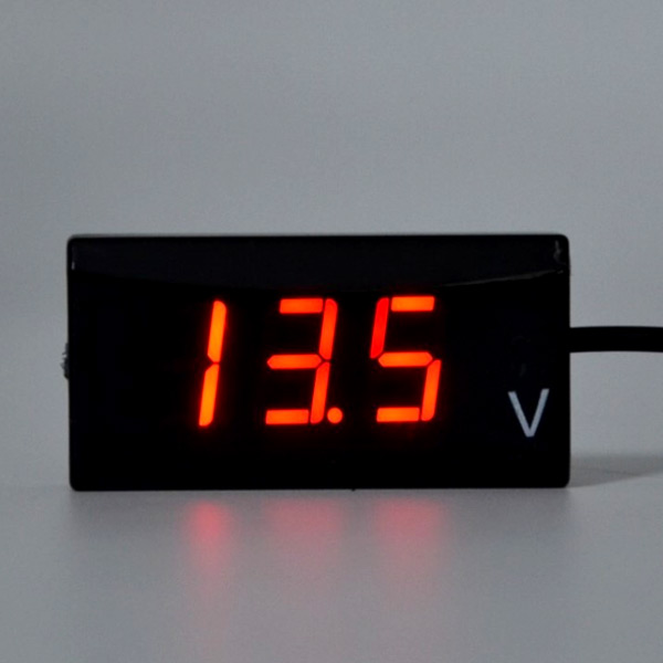 メール便対応可 バイク 電圧系 LED ボルトメーター 送料無料 安売り 電圧計 デジタル 防水 警告機能 開店記念セール スクーター 9V-20V レッド 単車 小型 オートバイ 即日発送